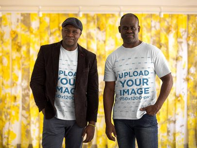 Mockup of Two Brothers Wearing T-Shirts Against Yellow Plastic Curtains 21466