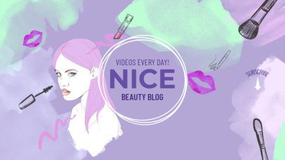 Online Banner Maker for YouTube Channels with Girl Illustration 389d