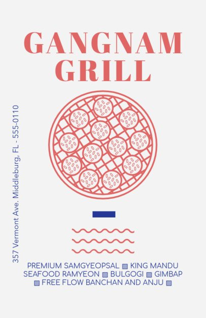 Flyer Template for a Korean Restaurant with Grill Clipart 400b