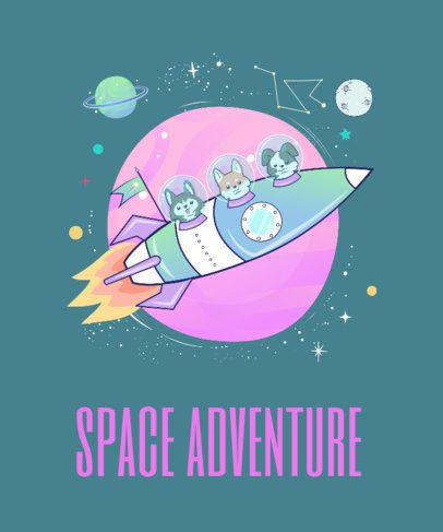 T-Shirt Design Template with Dogs in Space 419c