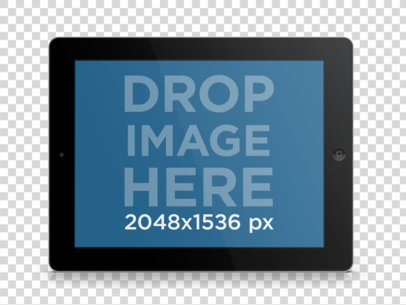 Tablet Mockup of Black iPad in Landscape Position Over Clear Background