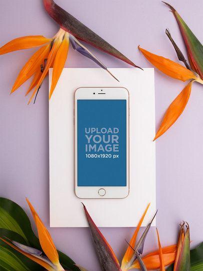 iPhone Mockup Lying Near Birds of Paradise Flowers 21749