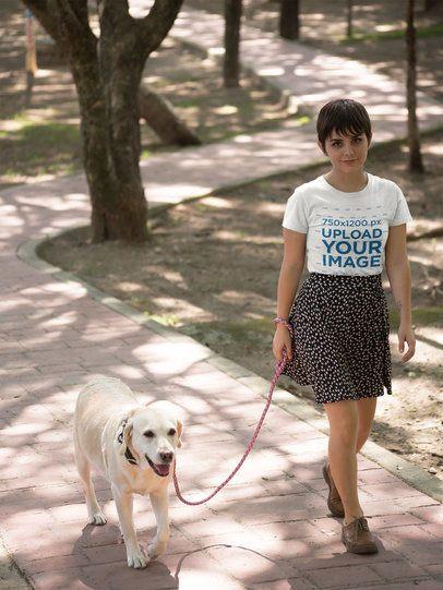 T-Shirt Mockup of a Woman Walking Her Dog 17977