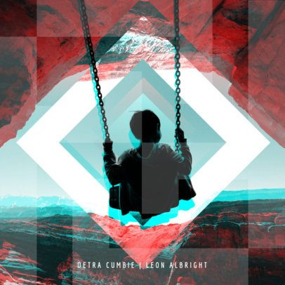 Cool Electro Album Cover Design Template 469b