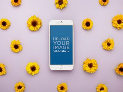 Mockup of a Silver iPhone 8 Surrounded by Sunflowers 21982