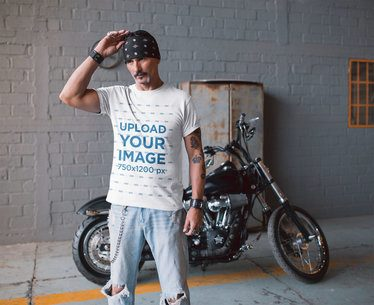 Mockup of a Tshirt Being Worn by a Biker Using a Bandana in Front of his Motorcycle 20254