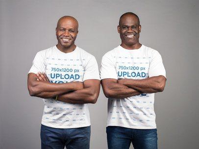 T-Shirt Mockup featuring Two Handsome Elderly Men 21463