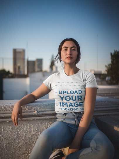 T-Shirt Mockup of a Woman in a City Setting 19753