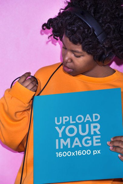 Vinyl Album Cover Mockup Featuring a Girl Listening to Music Against a Pink Wall 22113