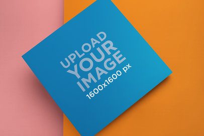 Vinyl Record Cover Mockup Lying on Two Colored Cardboards 22009