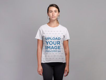 Mockup of a Woman Wearing a T-Shirt and Hoop Earrings 21298