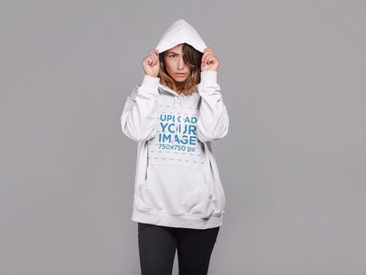 Hoodie Mockup of a Woman with Her Hair Over One Eye 21306