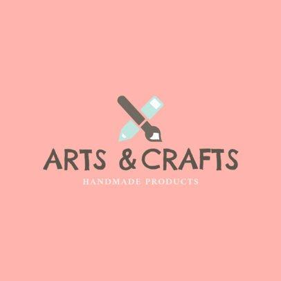 Handmade Arts and Crafts Logo Design Template  1403