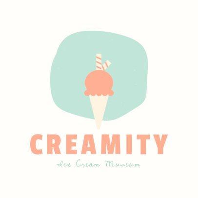 Ice Cream Shop Logo Template with Minimalist Illustrations 1399