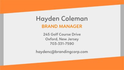 Standard Business Card Template for Managers 555a