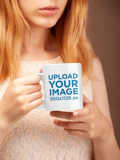 Mockup of a Woman Holding a Coffee Mug  22379