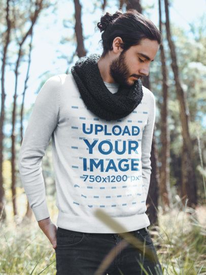 Sweater Mockup Featuring a Man with a Black Scarf 18089