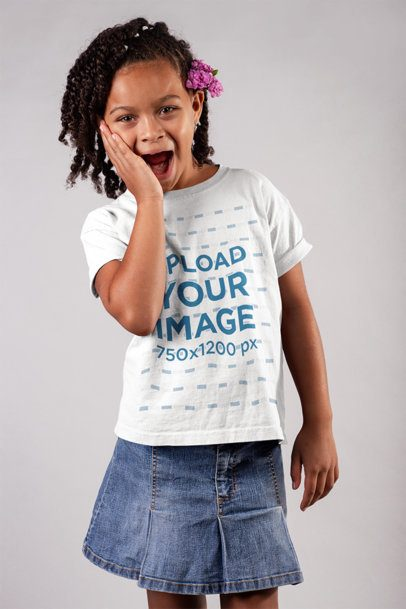 T-Shirt Mockup of a Little Girl With a Surprised Look 22075