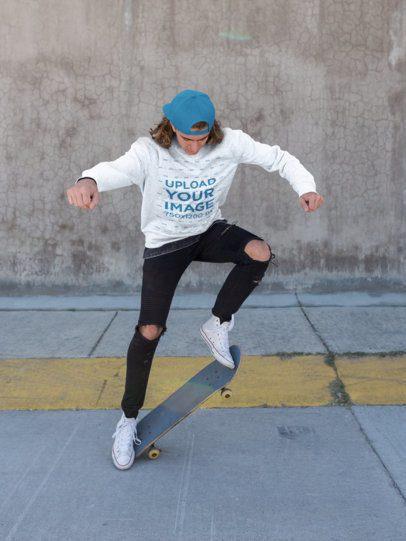 Mockup of a Man Wearing a Sweatshirt Doing Skate Tricks 18167