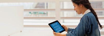 Tablet Mockup of Girl Using Black iPad at School a2578