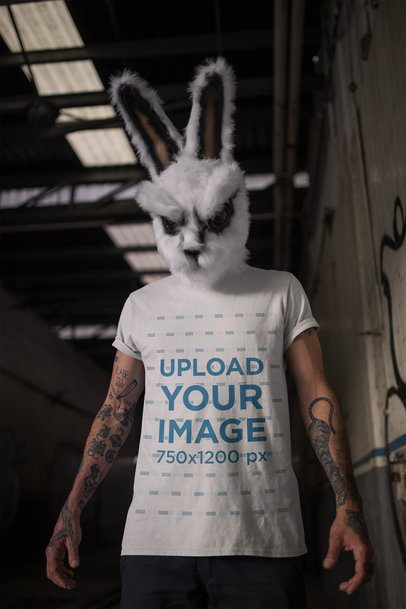 Round Neck Tee Mockup of a Man with a Halloween Rabbit Mask 22951
