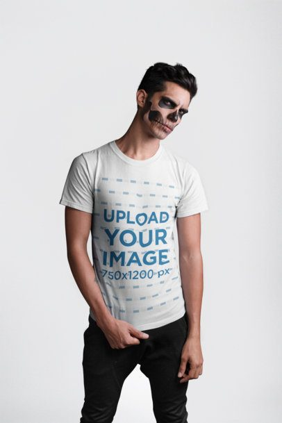Round Neck Tee Mockup of a Man with Skull Makeup for Halloween 22939