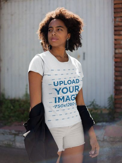 T-Shirt Mockup of a Girl with White Shorts Walking on the Street 18212