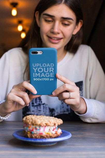 iPhone Case Mockup Featuring a Pretty Girl Taking a Picture of a Cookie 22889