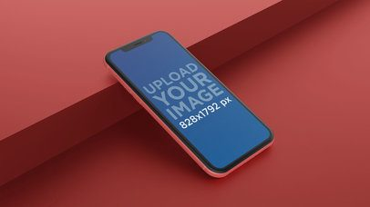 Angled Coral iPhone XR Mockup Lying Against a Step 23132