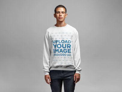 Sweatshirt Mockup Featuring a Serious Man Staring at the Camera 21589