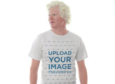 Tshirt Mockup of a Man Wearing a Tshirt Against a Bright Light 22237