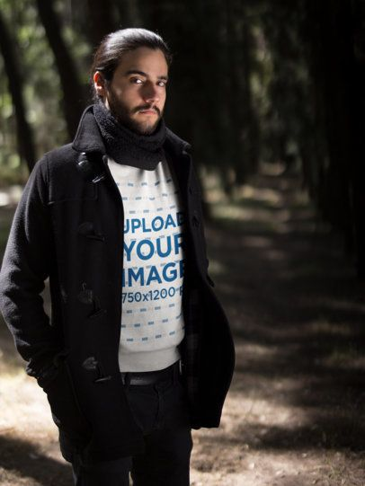 Sweatshirt Mockup of a Man out in the Woods 18034