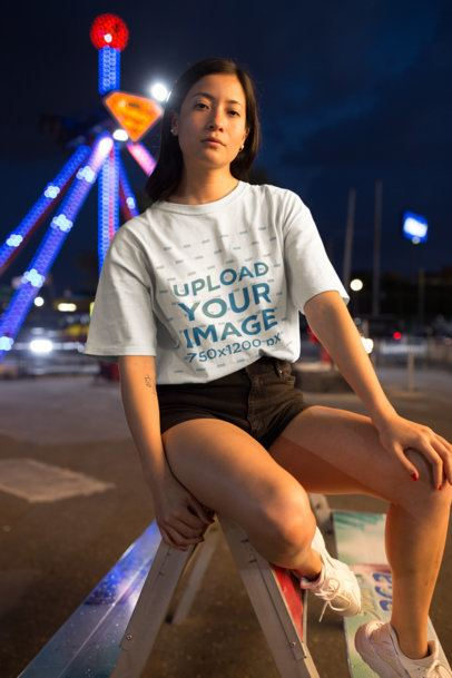 Unisex T-Shirt Mockup of a Brunette Woman at a County Fair 22975