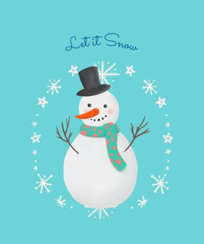 Christmas T-Shirt Design Template with Cute Frosty Snowman 827d