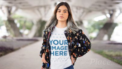 Stop Motion Video of a Young Woman Wearing a Bomber Jacket and a T-Shirt 13146