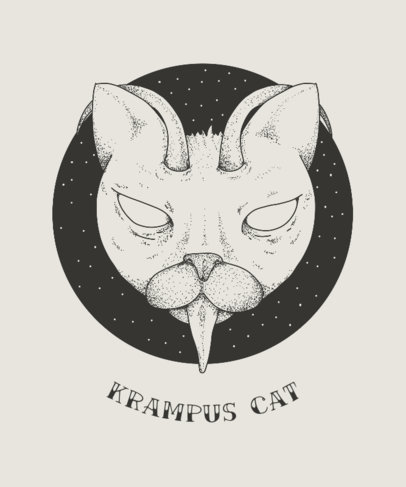 Christmas T-Shirt Design Template with Krampus Cat 825b