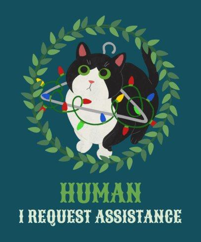 Cat T-Shirt Design Template for Christmas 828c