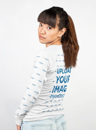 Long Sleeve T-Shirt Mockup of a Woman Looking Back in a Photo Studio 23352