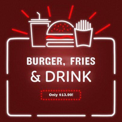 Banner Maker for Fast Food Restaurants with Neon Graphics #311e