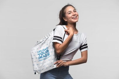Drawstring Bag Mockup of a Beautiful Girl Smiling 23661