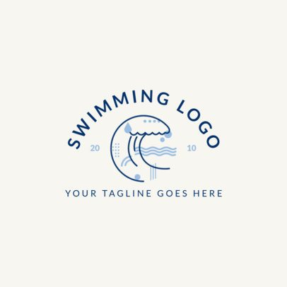 Swimming Logo Maker with Wave Clipart 1579