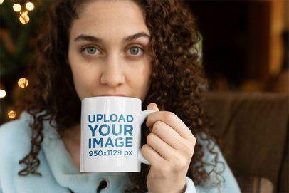 Coffee Mug Mockup with a Beautiful Young Woman Taking a Sip 23502