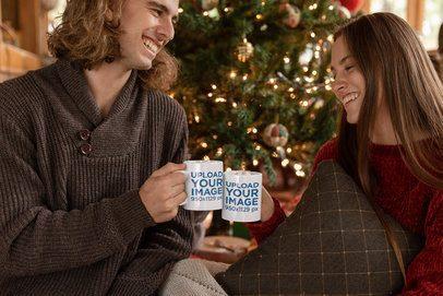 Mug Mockup of a Couple Drinking Hot Cocoa in Christmas 23519