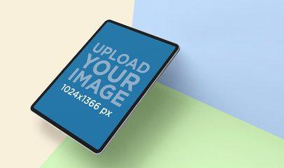 iPad Portrait Mockup Featuring a Tri-Color Surface 24466