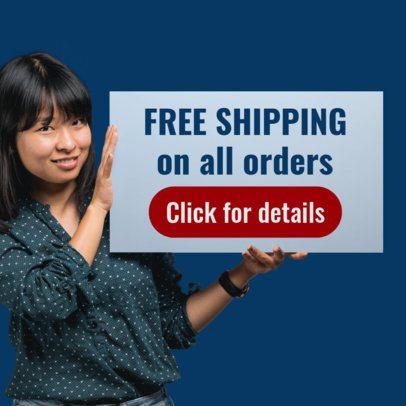 Online Banner Maker of a Girl Holding a Free Shipping Banner Ad 872f