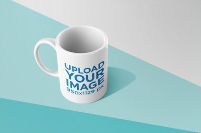 Mockup of a Mug Standing Over Colored Pasteboard Cards 24490