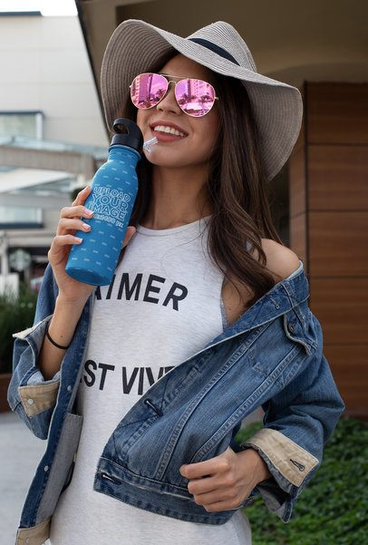 Aluminum Water Bottle Mockup Featuring a Girl with Sunglasses and a Sun Hat 24420
