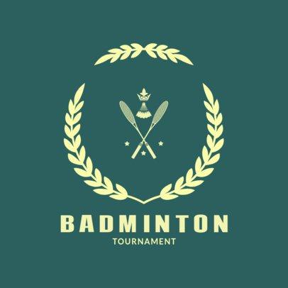 Badminton Logo Design Template with a Badminton Racket Clipart 1632b