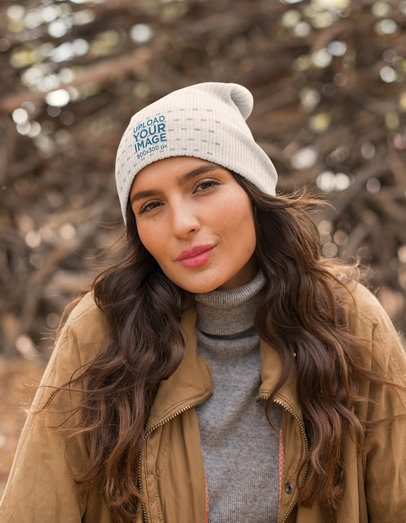 Mockup of a Beautiful Woman Wearing a Beanie in Winter 24603