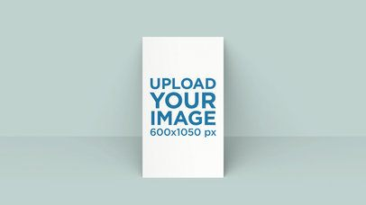 Mockup of a Vertical Business Card Leaning on a Solid Surface 25045